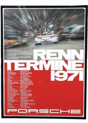 """PORSCHE Racing Poster """"Renntermine 1971"""" 101 By 7"""