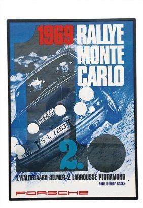 """PORSCHE Racing Poster """"Rallye Monte Carlo"""" 1969,"""