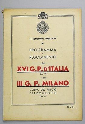 Programme And Rules XVI. Grand Prix D'Italia/ III