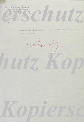 PIERO TARUFFI Writing To Zagari, Signed By Taruff