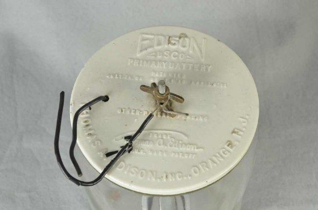 123 Edison Battery Jar W Ceramic Lid Amp Lead Paddles