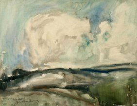 George Elmer Browne, Clouds, Watercolor