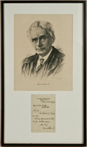 Portrait Of Louis Brandeis, With Handwritten Memo