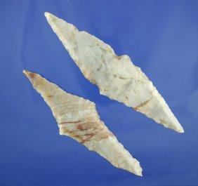 Pair Of Harahey Four Bevel Knives Made From Alibates