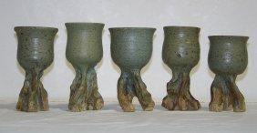 """5 Signed """"Janet Verdegem"""" Abstract Pottery Drinking"""