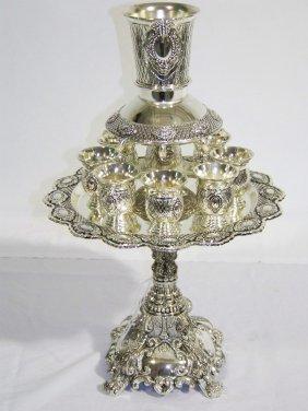 Vintage Judaica Kiddish Silver Plate Wine Divider