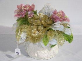 Antique H. Blown Multi Colored Glass Flower Arrange