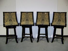 4 Great High End Black Lacquer Swivel Bar Stools
