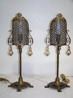 Pair Of Antique Hand Wrought Iron & Brass Table La