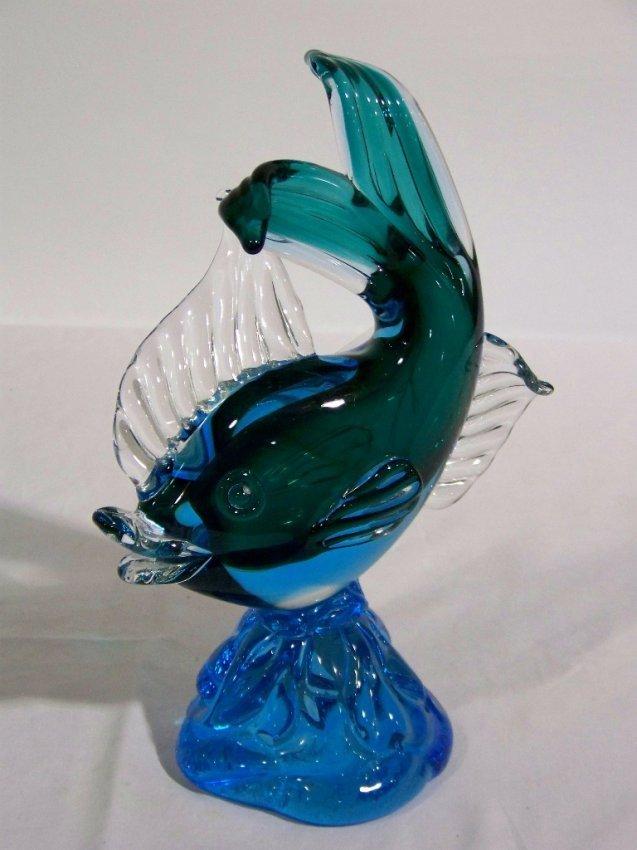 6 modern murano art glass fish on wave lot 6 for Murano glass fish