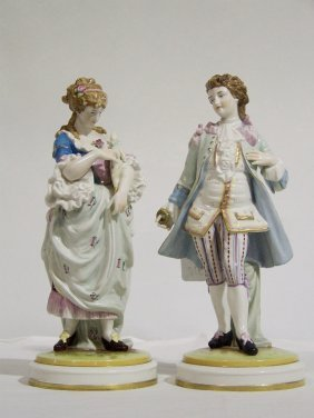 Pair Of Early German Hand Painted PorcelainFigures 12""