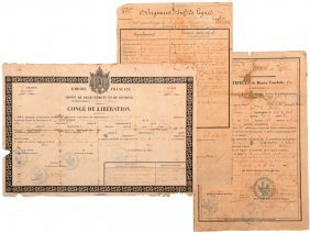 A Lot Of 3 Documents 2nd Empire Awarded To A Soldier Of