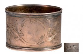 Russian Silver Oval Napkin Ring Decorated By A Floral