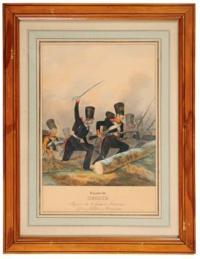 Lithographic Engraving Colored In The Gouache About