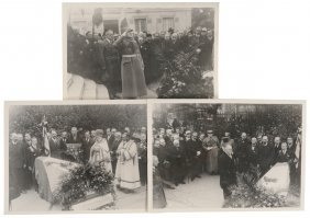 Lot Of Three Nice Original Photos Of The Funeral Of