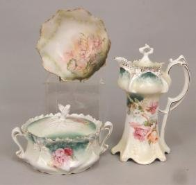 Three Pieces Of RS Prussia Hand Painted Porcelain