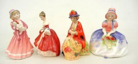 "Four Royal Doulton Figurines ""All A Blooming"" Minia"