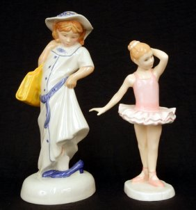 "Two Royal Doulton Figurines ""Dressing Up"" Childhood"