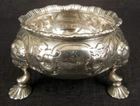 English Sterling Silver Master Salt, Three Footed,
