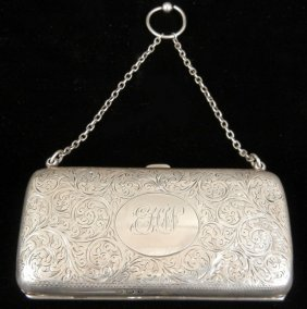Sterling Silver Lady's Purse With Finger Ring By J