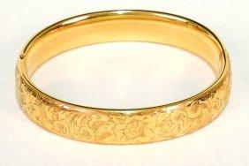 Edwardian Gold Bangle Bracelet, Hand Engraved 14k
