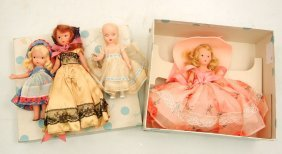Four Nancy Ann Storybook Dolls, One Is Mint In Box