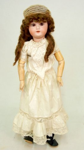 Simon & Halbig Bisque Head Doll, Wood And Compositi