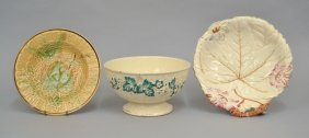 Two Majolica Plates And A Majolica Footed Bowl
