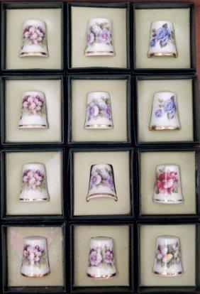 Twelve Golden Crown E&r Porcelain Thimbles
