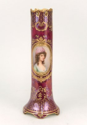 Antique Hand Painted Porcelain Portrait Vase