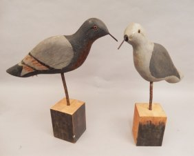Two Carved Pigeon Decoys