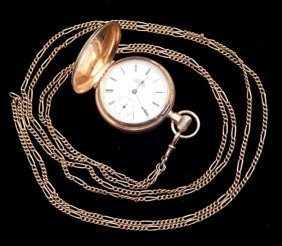 Elgin 14k Gold Mens Pocket Watch With Chain