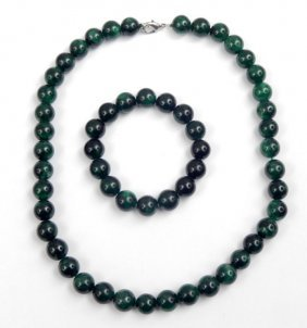 Vintage Green Jade Necklace And Matching Bracelet