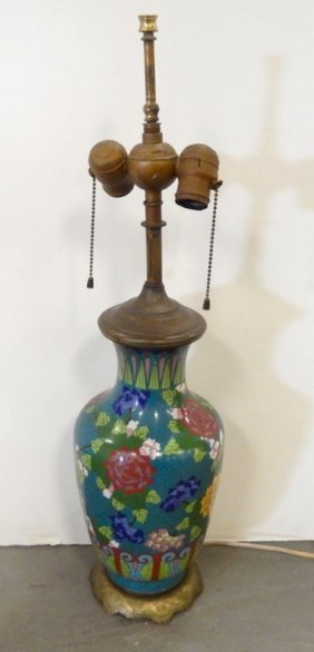 Cloisonne Vase Converted To Lamp