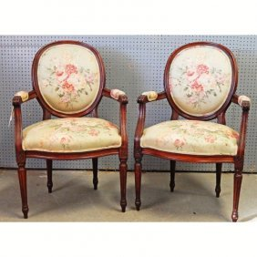 A Pair Of Louis Xv Style Walnut Armchairs