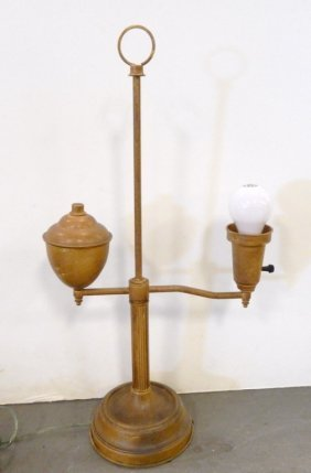 Tole Tortoise Shell Painted Study Lamp