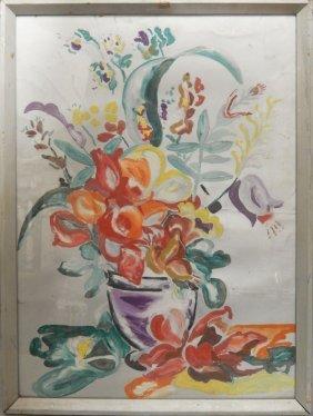 American School Oil On Silver Board, Floral,