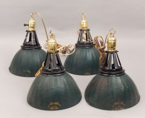 Four Curtis X-ray Reflector Pendant Lights,