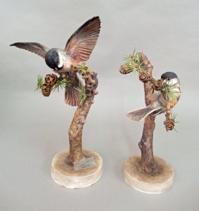 """Pair Of Royal Worcester """"chickadee"""" Porcelain Figurines"""