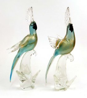 Pair Of Murano Glass Cockatiels