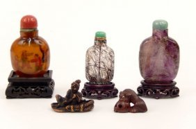 Snuff Bottles And Netsukes Grouping