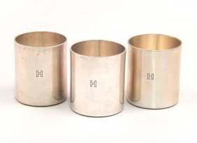 Three Cartier Sterling Silver Cups