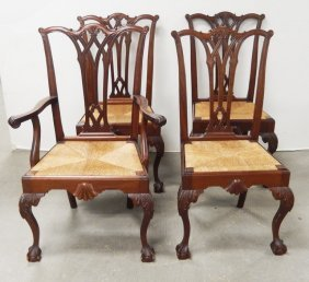 Set Of Four Walnut Centennial Chippendale Style Chairs