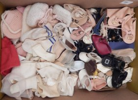 Grouping Of Antique And Vintage Doll Shoes And Socks