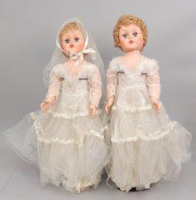 Two Hard Plastic And Vinyl Bride Dolls