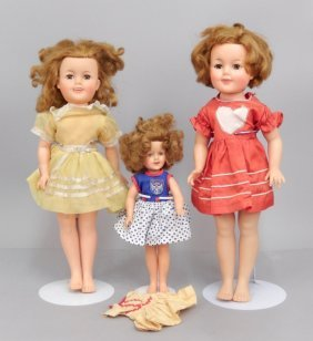 Three 1957 Ideal Shirley Temple Vinyl Dolls