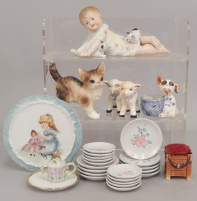 Grouping Of Child's Dishes, Piano Baby, Bisque Animals,