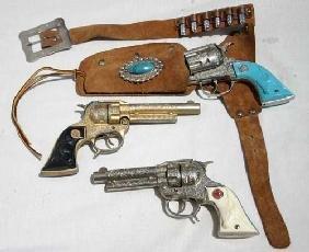 "3 ""Texan Jr"" Western Toy Guns W 1 Holster & Bullets"