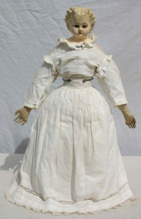 Ca 1860's Paper Mache Head Orig Cloth Body Doll In