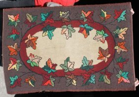 "3'x4'4"" American Hooked Rug W Colorful Autumn Leaf"